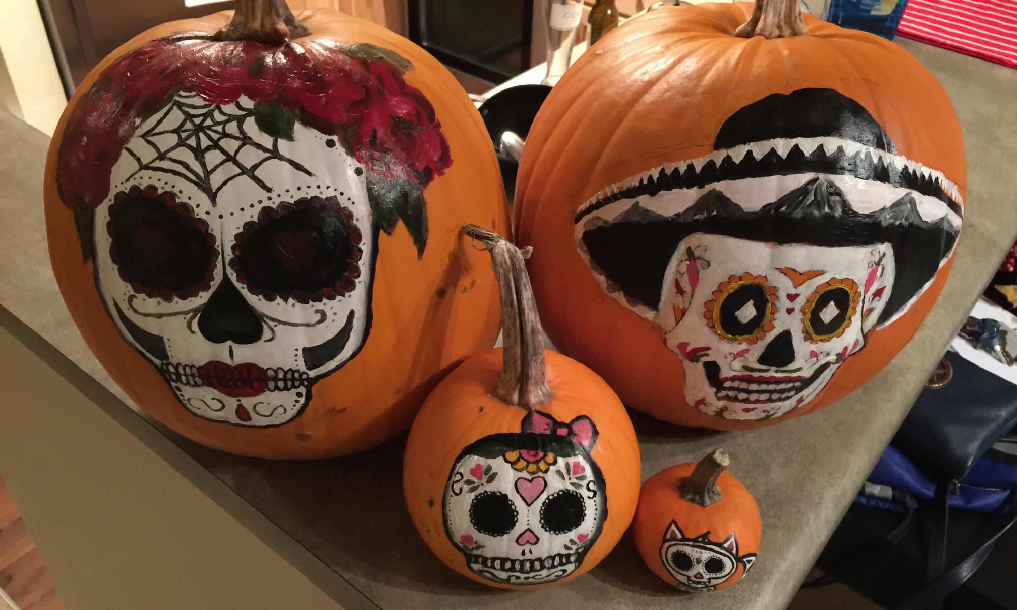 Sugar Skull Painted Pumpkins For Halloween Abbey Co