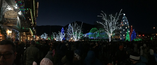 Leavenworth Christmas lighting photo panoramic