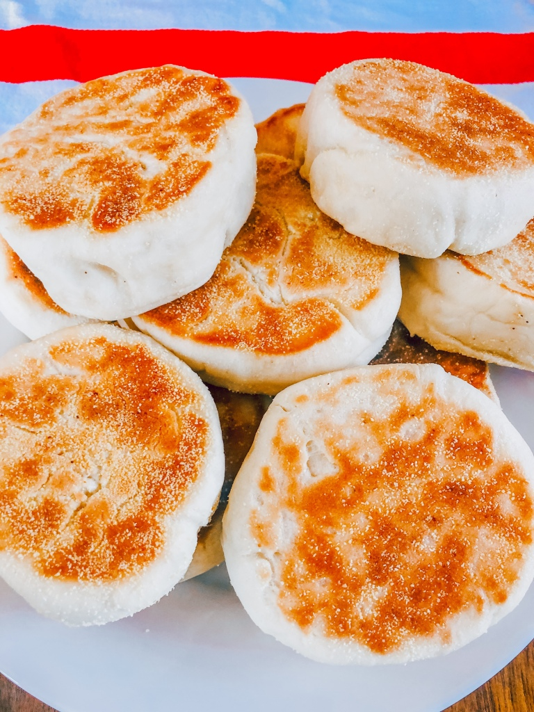 The whole plate of homemade english muffins, they turned out fantastic!